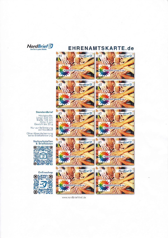 Würdigung des Ehrenamtes auf neuer Briefmarke – Aktion mit Nordbrief unterstützt Ehrenamtskarte Schleswig-Holstein